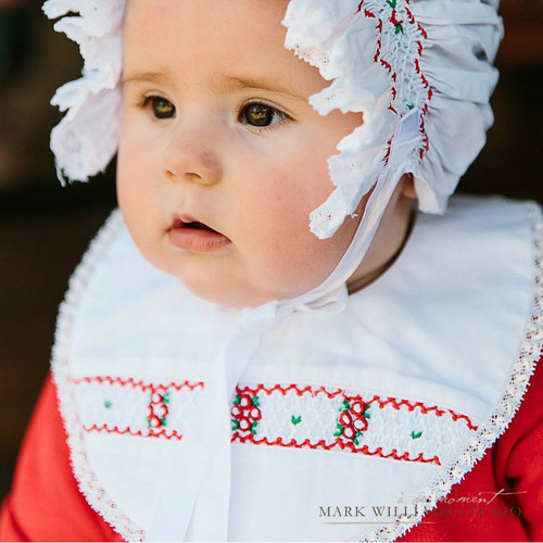 Floral Lace Smocked Holiday Bib