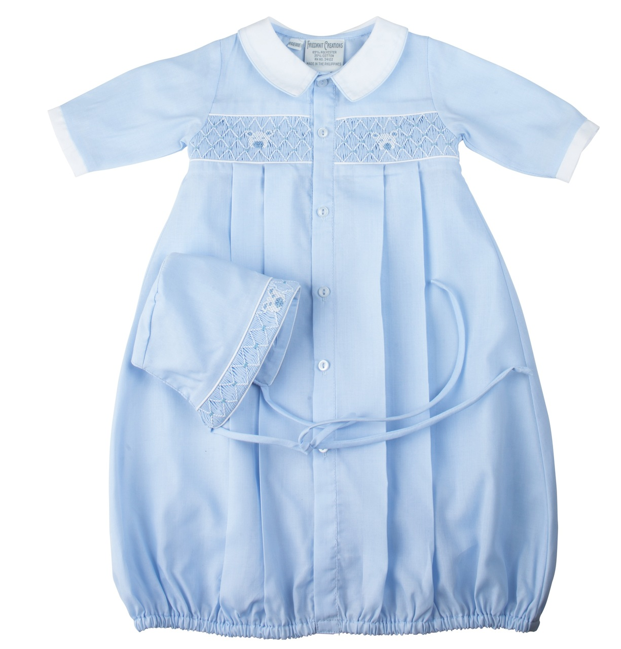 e613585dd66 Preemie Teddy Smocked Take Me Home Gown with Hat