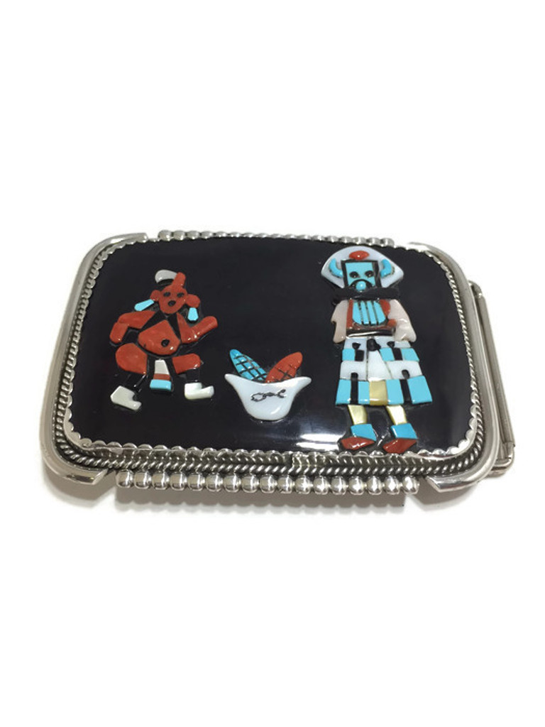 "Zuni made belt buckle with inlay stones.  The buckle is stamped ""Bev.Etsate Zuni NM""."