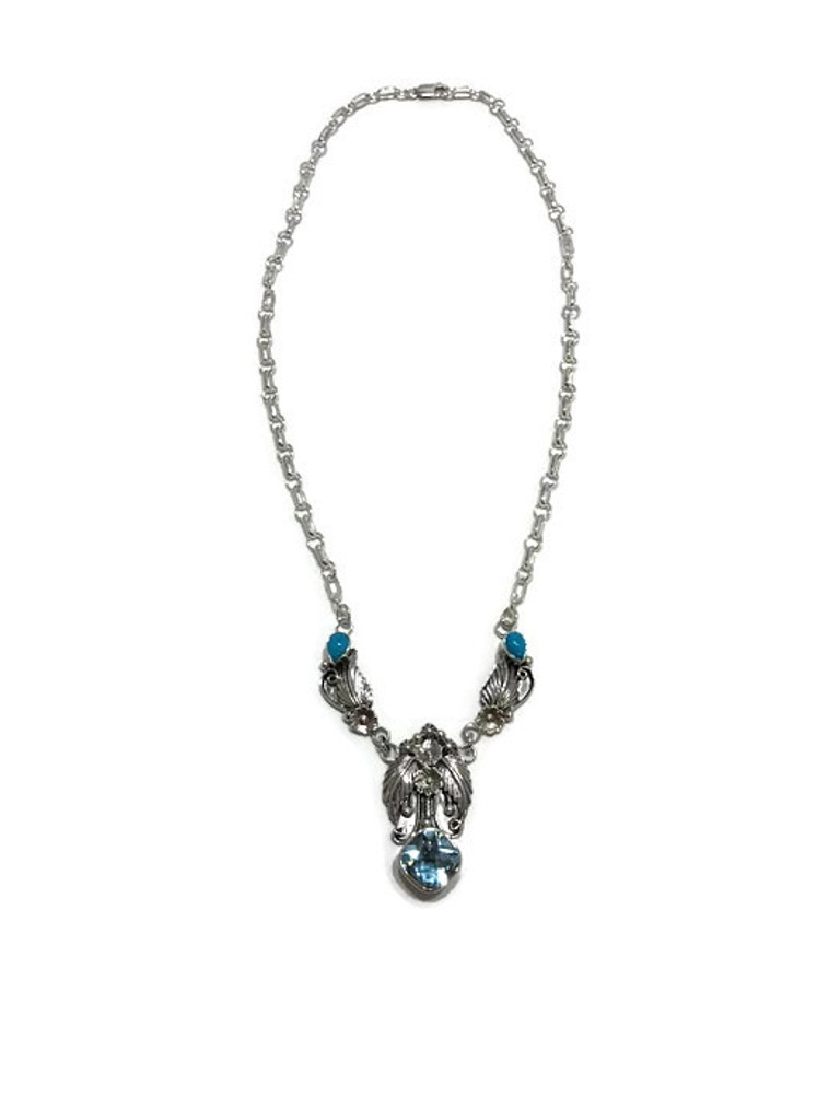 Native American made swiss blue topaz and turquoise necklace