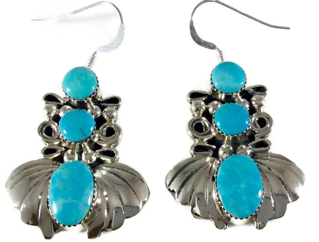 3-Stone Kingman Turquoise  Fan Drop Earrings  .925 Sterling Silver Artist: Sheena Jack