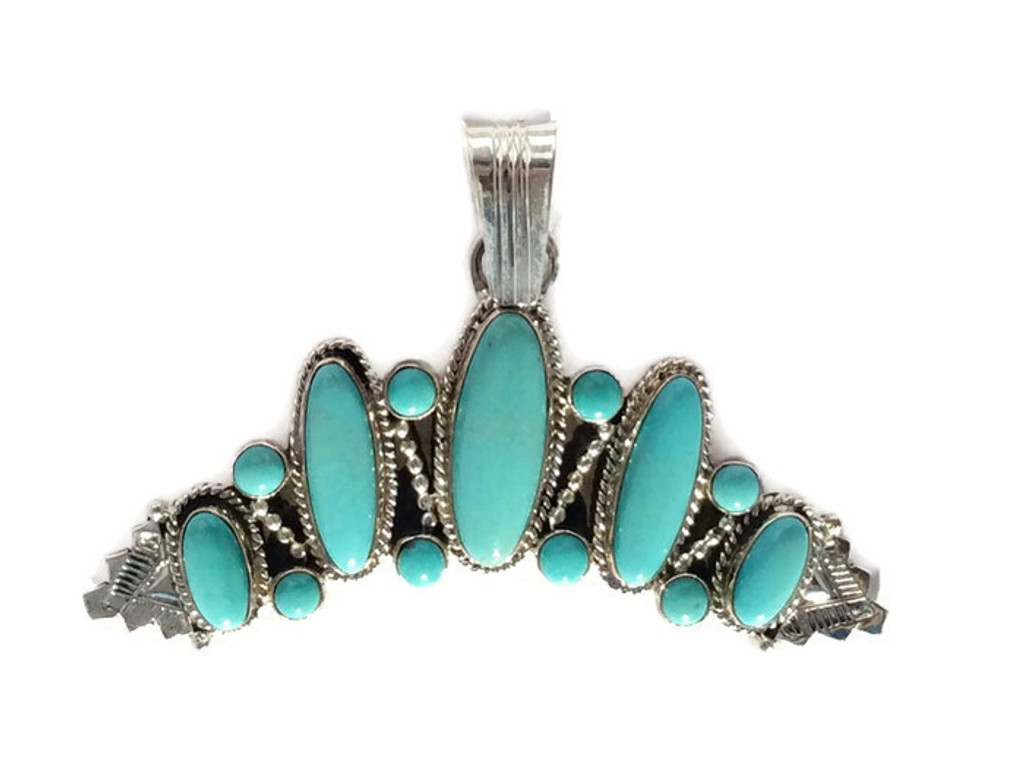 13-Stone Turquoise  .925 Sterling Silver Curved Pendant Handcrafted