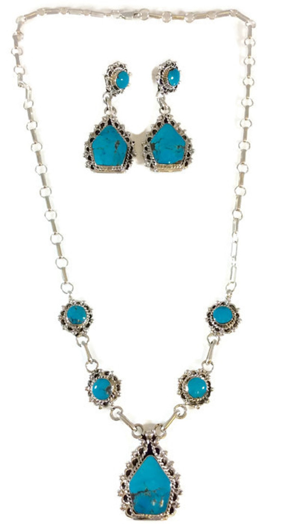 Kingman Turquoise Scalloped Necklace and Earrings Artist: Roger Pino Navajo Tribe Native American Jewelry Handcrafted