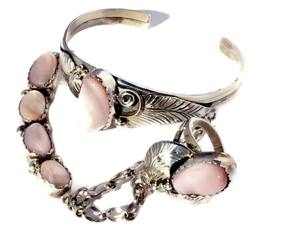 Pink Musselshell Stone Sterling Silver Princess Cuff Navajo Tribe Native American Jewelry