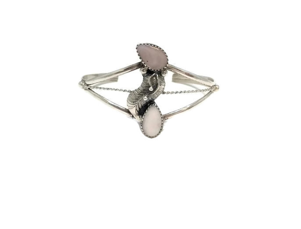 Teardrop Pink Mussel Shell Floral Curved .925 Sterling Silver Navajo Tribe Native American Jewelry Handcrafted