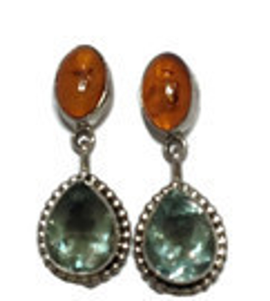 Chaco Canyon Amber and Green Fluorite Teardrop Earrings