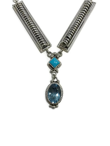 Native American made Turquoise and swiss blue Topaz necklace.