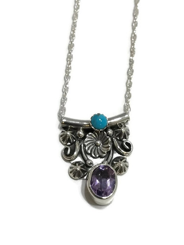 Native American made Turquoise and Amethyst necklace.