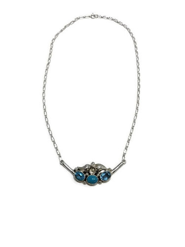 Native American made swiss blue topaz and turquoise necklace.