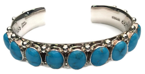 9 Stone Turquoise  Cuff Bracelet Artist: Emma Lincoln