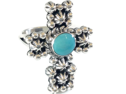 Stardrop Turquoise Cross Ring .925 Sterling Silver Navajo Tribe Native American Jewelry Artist: Irvin Tsosie