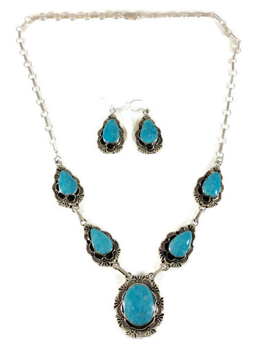 Kingman Turquoise Stamped Necklace and Earrings Set Navajo Tribe Native American Jewelry .925 Sterling Silver Artist: Bobby Platero