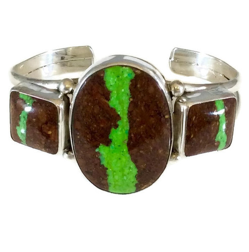Turquoise Boulder Stone Cuff Bracelet .925 Sterling Silver