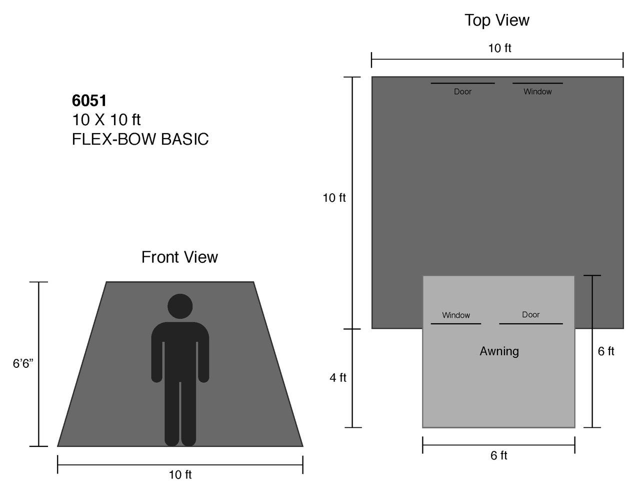 10 x 10 ft. Flex-Bow Canvas Tent - Basic
