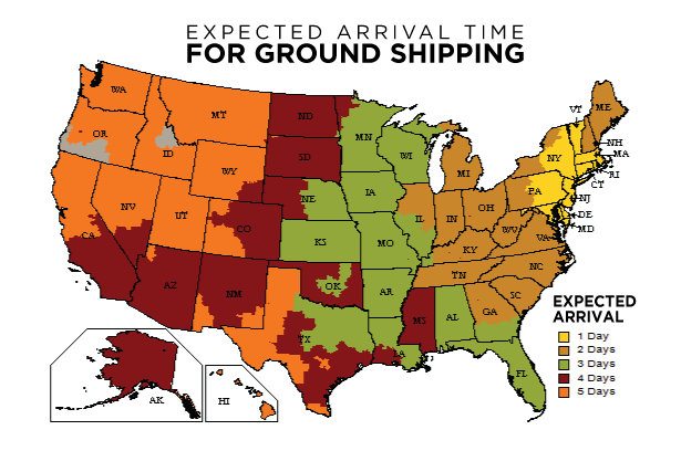Map displaying Expected Arrival Time for Ground Shipping