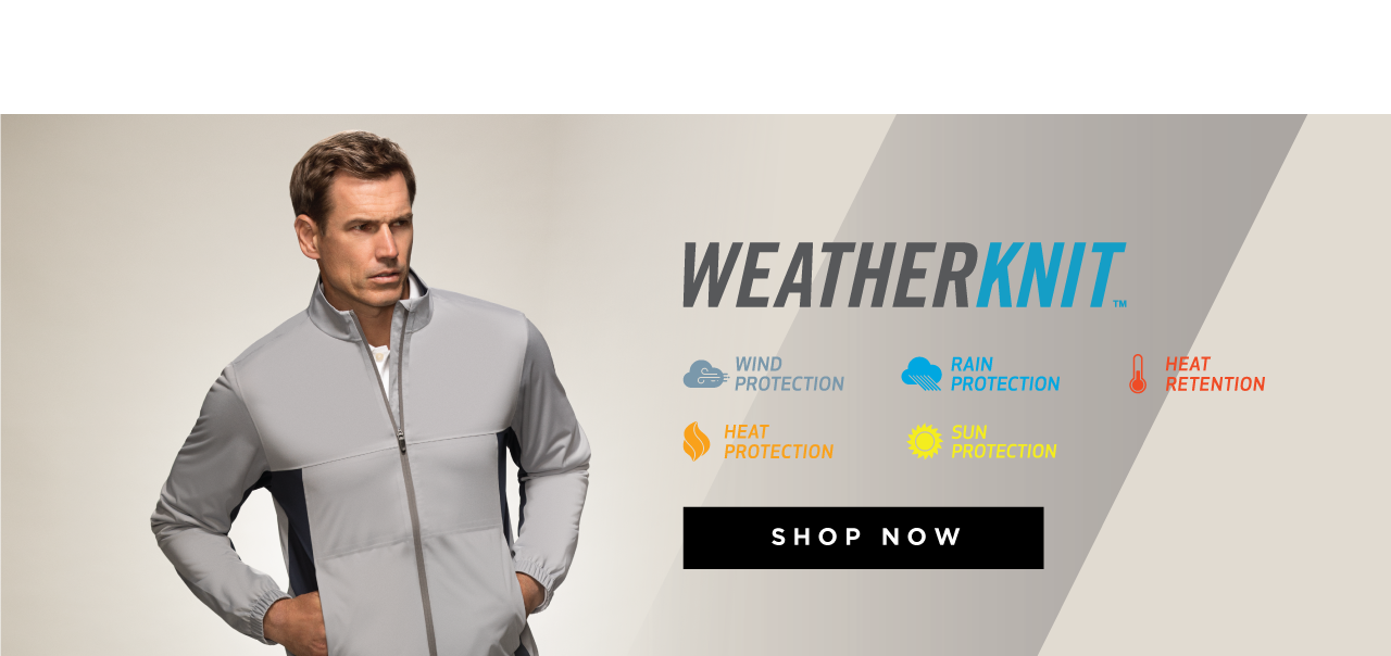 Weather knit. Wind protection. Rain protection. Heat retention. Heat protection. Sun protection. Shop now.