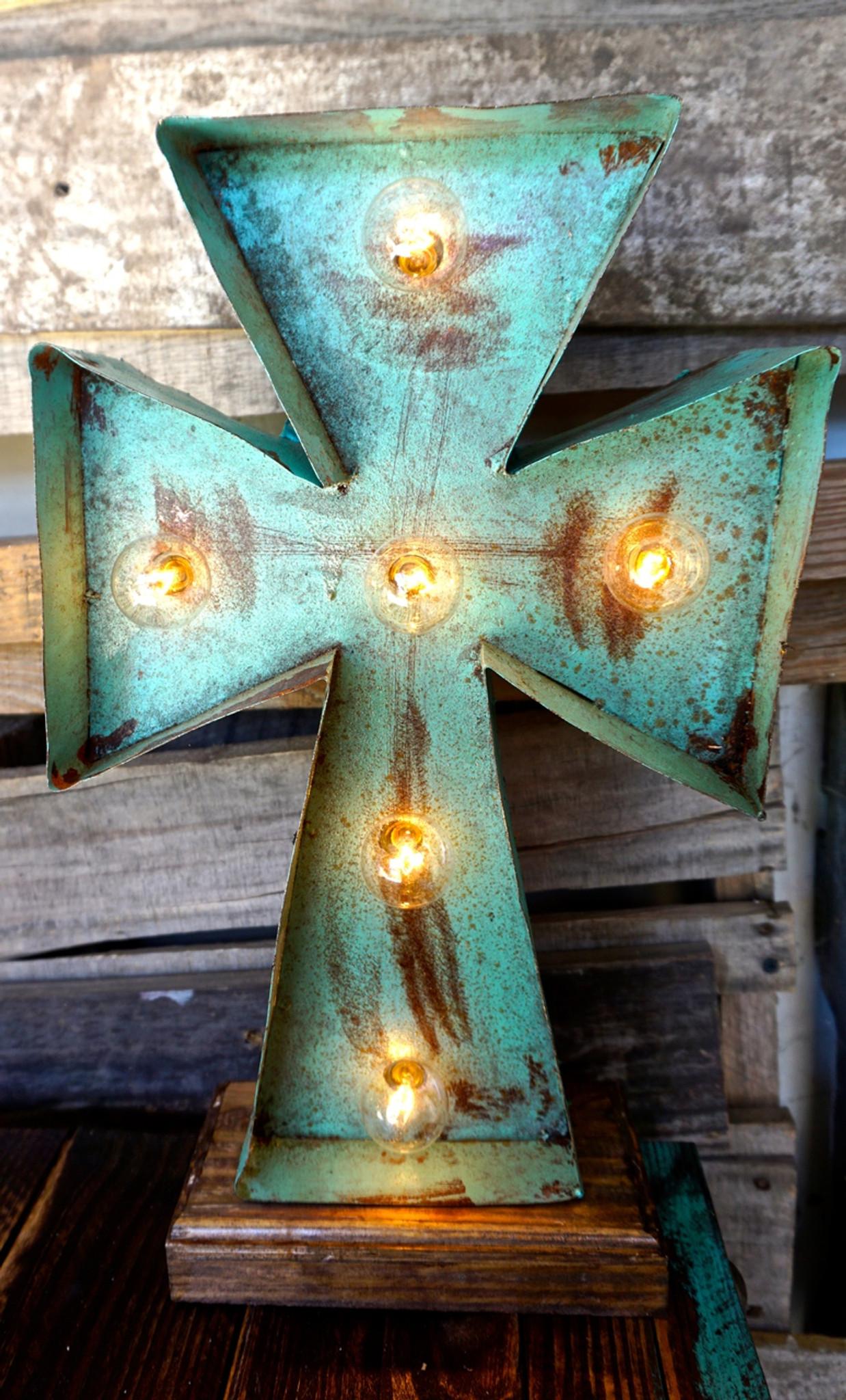Cross 2 Metal Marquee Sofia S Rustic Furniture
