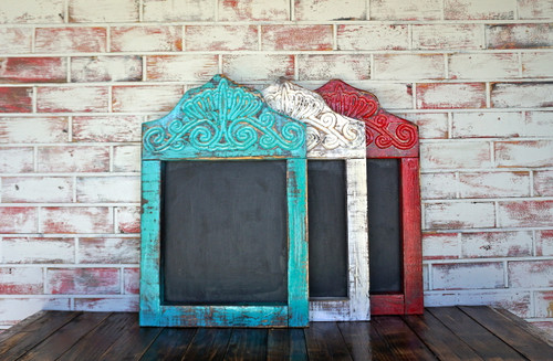 Hand carved wood chalkboard.  Custom-made product can take up to four weeks delivery time.
