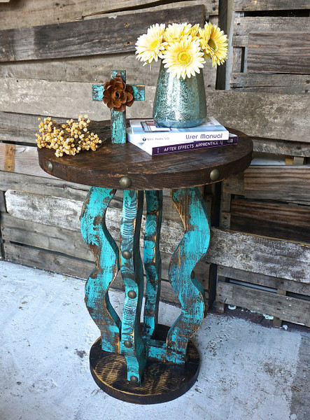 Loco Round Side Table Sofia S Rustic Furniture