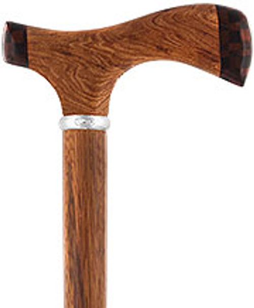 Rosewood 3D Fritz Inlay Checker Handle Walking Cane w/ Silver Collar