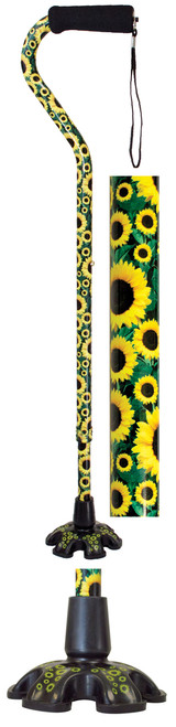 Essential Medical Couture Offset Cane-Sunflowers