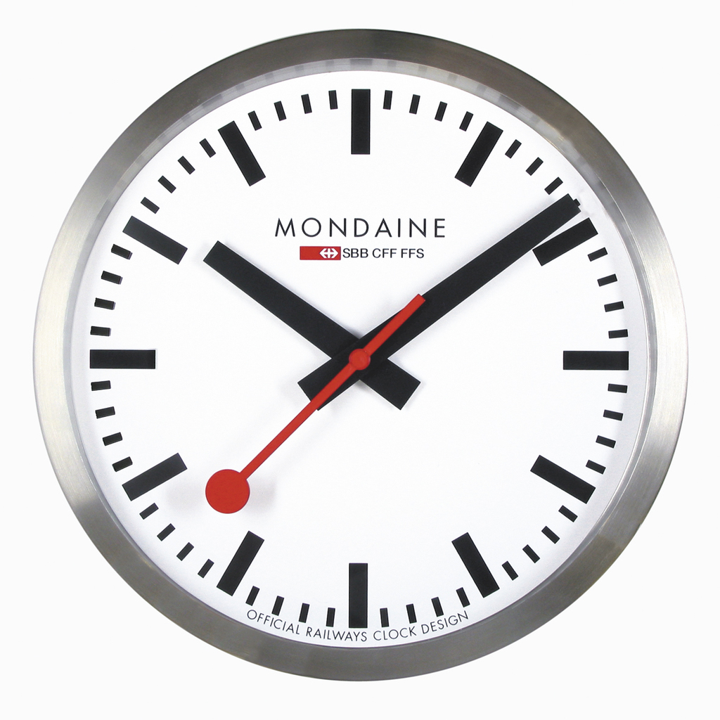 25cm Wall Clock - Brushed Aluminium  White Face