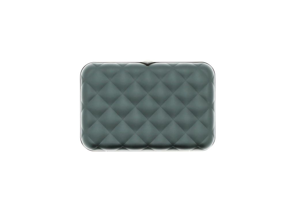 Quilted Button Wallet - Platinum