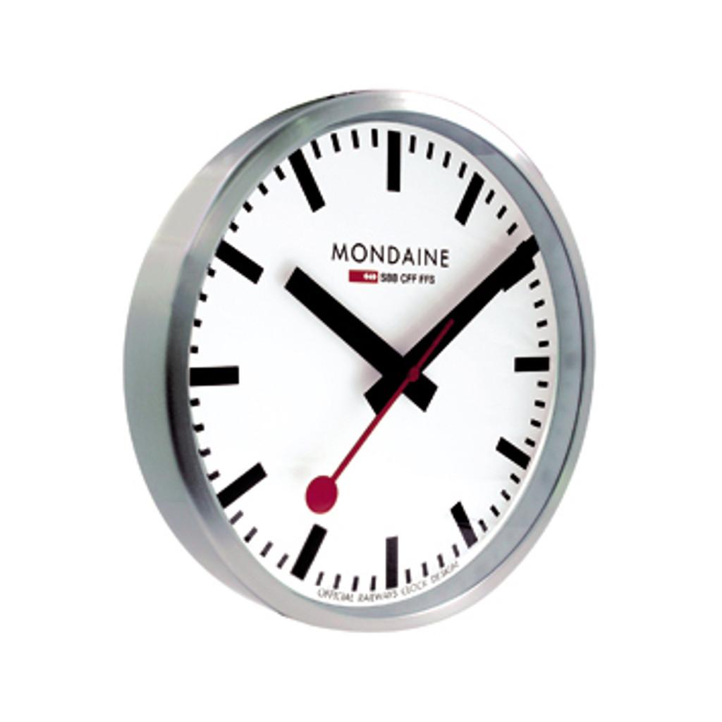40cm Wall Clock - Brushed Aluminium White Face