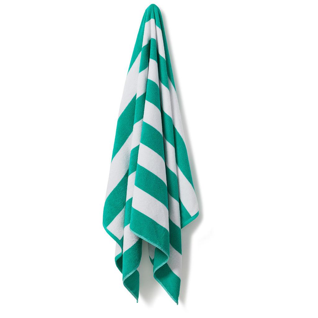 Cotton Terry Cabana Stripe Beach Towel - Spearmint