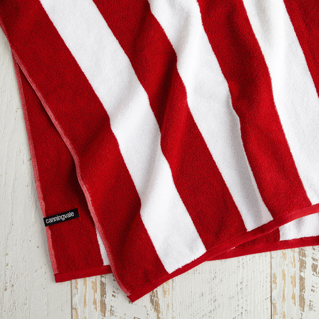 Cotton Terry Cabana Stripe Beach Towel - Red
