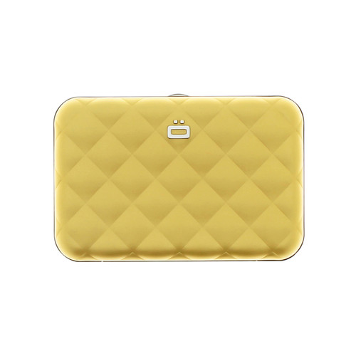 Quilted Button Wallet - Gold