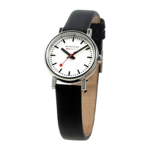 Evo 2 Petite 26mm - Black Leather Strap White Face