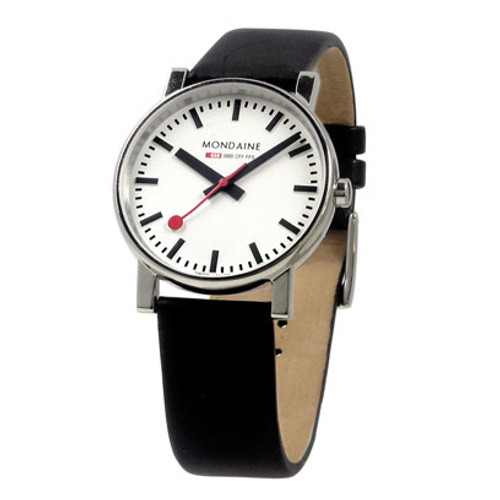 EVO 2 35mm - White Dial Black Leather Strap