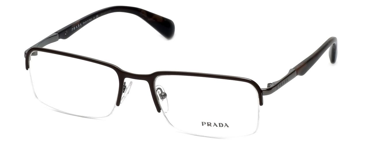 2924b5a2c3ba Prada Designer Eyeglasses VPR59Q-LAH101 in Brown-Marble 55mm    Custom Left