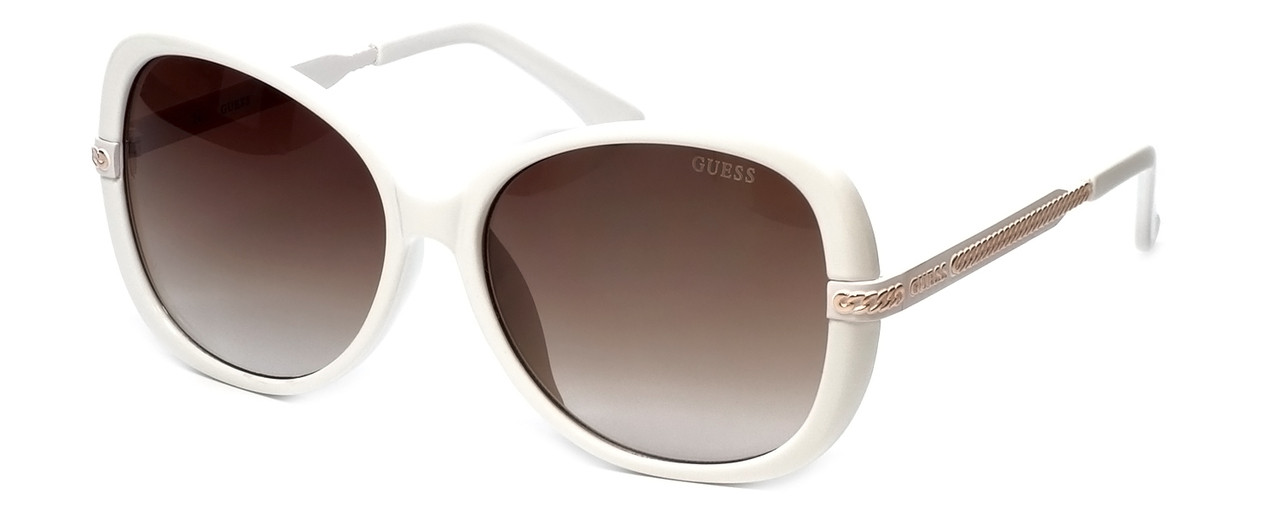 Guess Designer Sunglasses GUF253 in White Frame with Amber Gradient ...