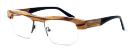 "Specs of Wood Designer Wooden Eyewear Made in the USA ""Zebra Trunk"" in Zebra Wood (Medium Brown) :: Rx Single Vision"