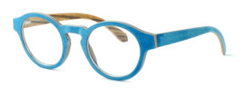 "Specs of Wood Designer Wooden Eyewear Made in the USA ""Wood Levis"" in Zebra Wood (Layered Denim) :: Progressive"