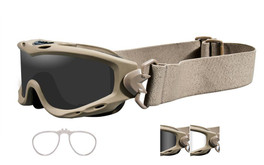 Wiley X Spear Tactical Rx Safety Goggles in Tan with Smoke & Clear Lens