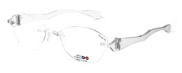 "I Wear America Designer Rimless Eyewear Made in the USA ""Freedom 1"" in All Crystal"
