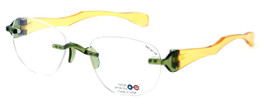 "I Wear America Designer Rimless Eyewear Made in the USA ""Freedom 1"" in Olive Oil"