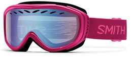 Smith Optics Snow Goggles Transit Airflow Series in Fuchsia Static with Blue Sensor Mirror Lens
