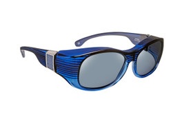 Haven Designer Fitover Sunglasses Sunset in Sapphire with Smoke Leather & Polarized Grey Lens (LARGE)