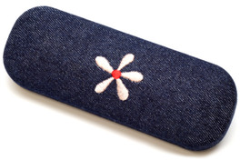 Calabria Kids Denim Flower Hard Eyeglass Case Small Size
