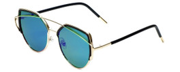 Gold/Black Frame with Rose Tint/Green Mirror Lens