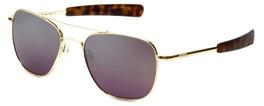 Randolph Designer Sunglasses Aviator in Gold with Midnight Metallic Lens