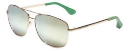 VIP Isaac Mizrahi Designer Sunglasses Aviator in Gold-Green with Gold Mirror