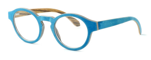 "Specs of Wood Designer Wooden Eyewear Made in the USA ""Wood Levis"" in Zebra Wood (Layered Denim) :: Rx Single Vision"
