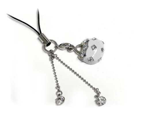 Cell Phone Gems Charms Lanyard Accessory 6000 in White