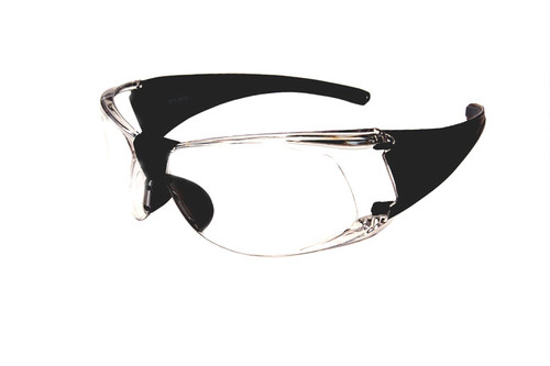 Sport Safety Glasses Z87 Safety Rated in Black w/ Clear Lens STS-0070