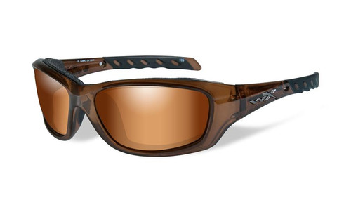 Wiley X WX Gravity Climate Control in Brown Crystal w/ Bronze Flash Lens